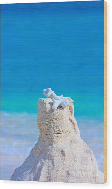 Sand Castle With Coral Against Calm Turquoise Sea Wood Print