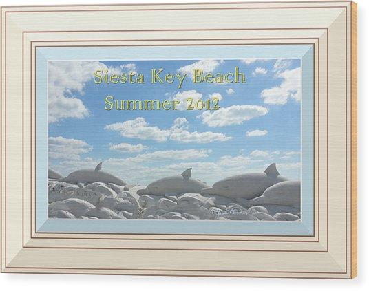 Sand Dolphins - Digitally Framed Wood Print