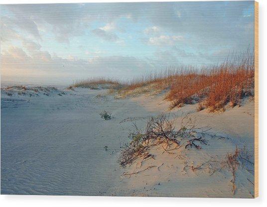 Sand Dune On Tybee Island Wood Print