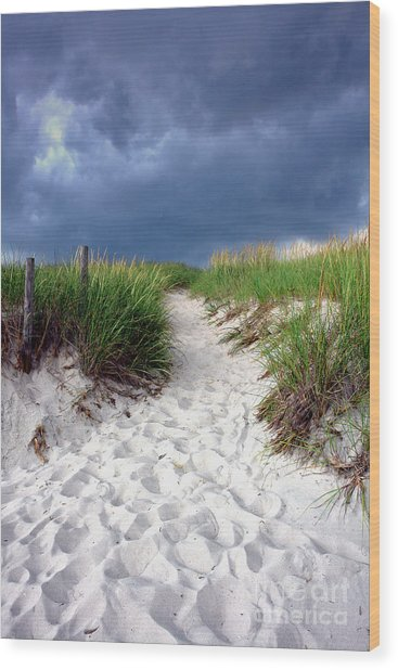 Sand Dune Under Storm Wood Print