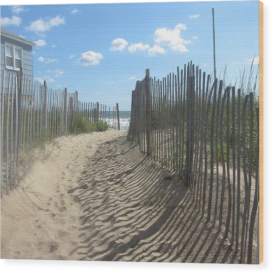 Sand Fence At Southern Shores  Wood Print