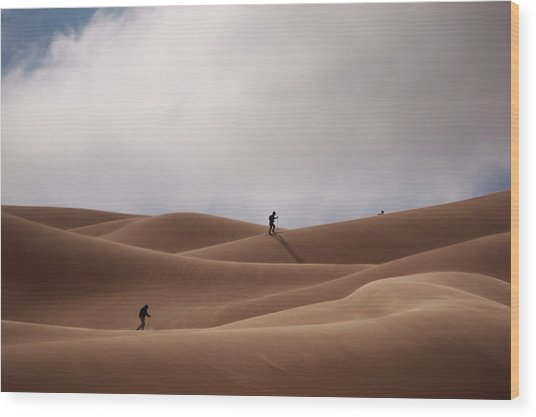 Sand Skiing Wood Print