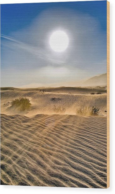 Sand Storm In The Mesquite Dunes 2 Wood Print
