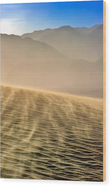 Sand Storm In The Mesquite Dunes Wood Print