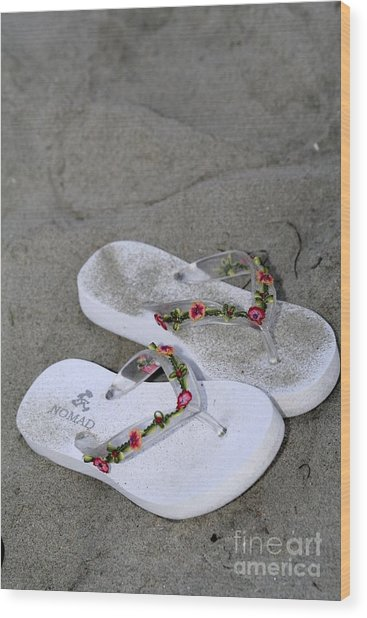 Sandals In The Sand Wood Print by Laura Paine