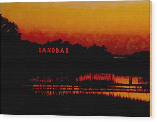Sandbar Beach Bar Wood Print