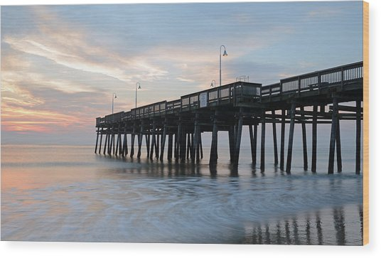 Sandbridge Pier Wood Print