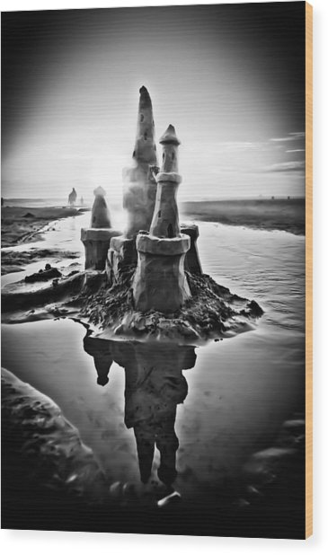 Sandcastle In Black And White Wood Print