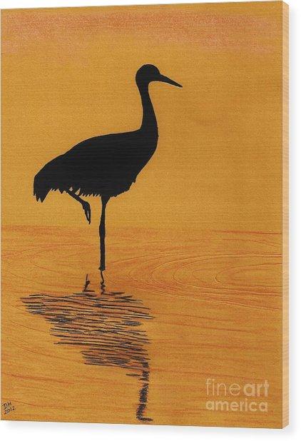 Sandhill - Crane - Sunset Wood Print