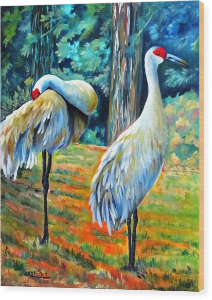 Sandhill Cranes At Twilight Wood Print