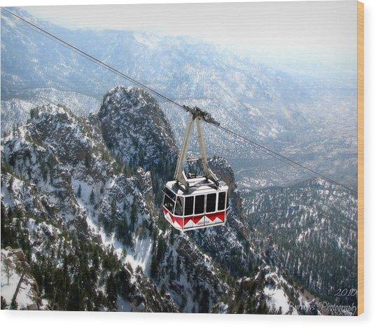 Sandia Tram Above The Snowy Peaks Wood Print