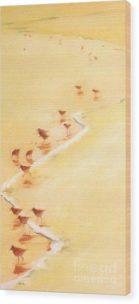 Sandpiper Promenade Wood Print
