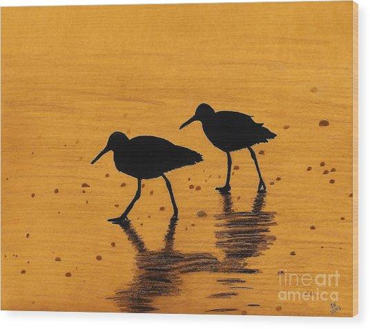 Sandpipers - At - Sunrise Wood Print