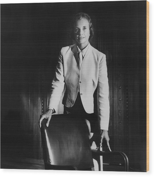 Sandra Day O'connor Posing Beside An Office Chair Wood Print