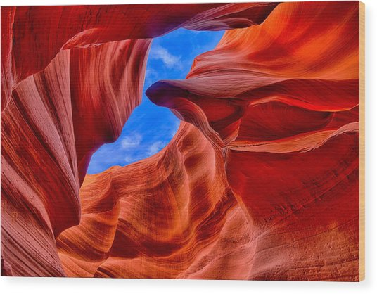 Sandstone Curves In Antelope Canyon Wood Print
