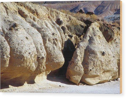 Sandstone Erosions Dry River Bed Wood Print