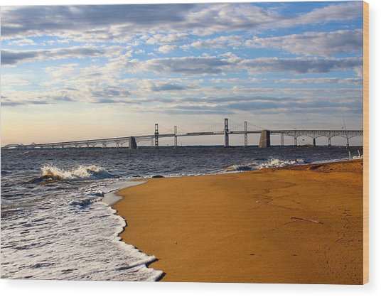 Sandy Bay Bridge Wood Print