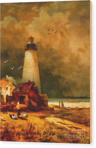 Sandy Hook Lighthouse - After Moran Wood Print