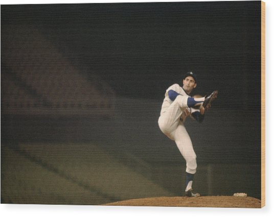 Sandy Koufax High Kick Wood Print
