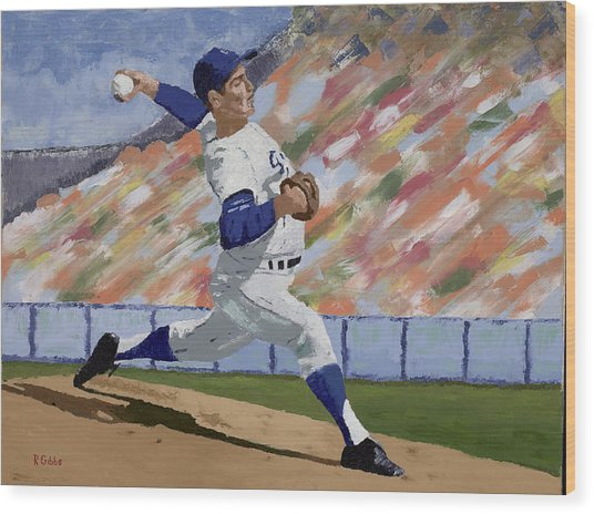 Sandy Koufax Wood Print by Ron Gibbs