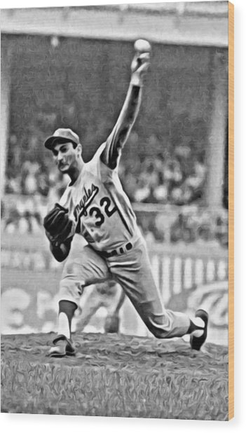 Sandy Koufax Throwing The Ball Wood Print