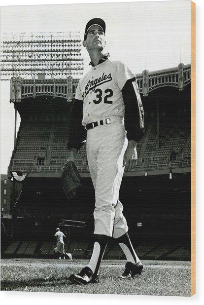 Sandy Koufax Vintage Baseball Poster Wood Print