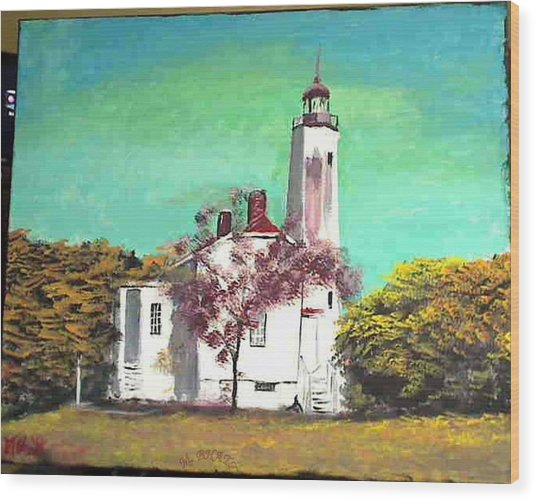 Sandyhook Light House Wood Print by M Bhatt