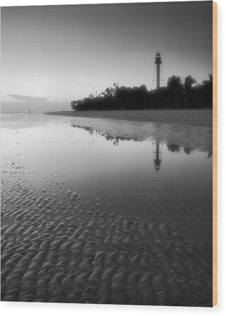 Sanibel Lighthouse And Beach II Wood Print