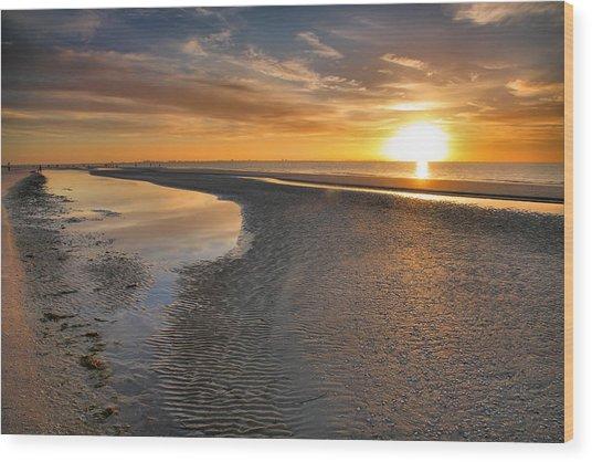 Sanibel Sunrise Xxi Wood Print by Steven Ainsworth