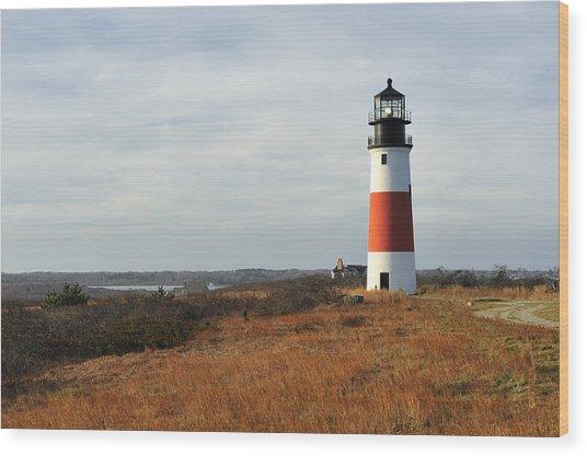 Sankaty Head Lighthouse Nantucket In Autumn Colors Wood Print