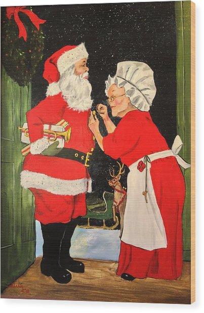 Santa And Mrs Wood Print