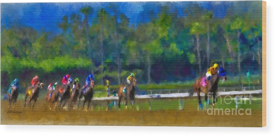 Santa Anita Races Wood Print