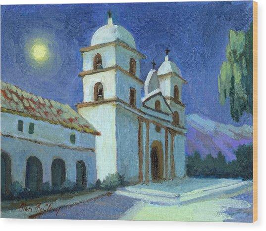Santa Barbara Mission Moonlight Wood Print