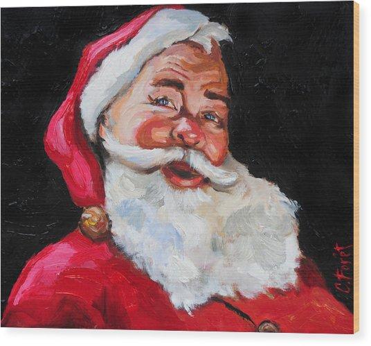 Santa Claus Wood Print by Carole Foret