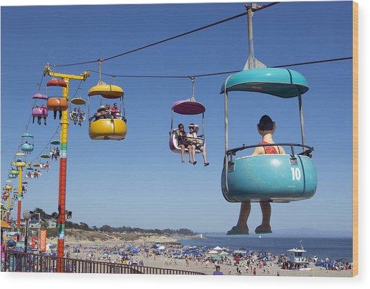 Santa Cruz Beach Amusement Park  Wood Print