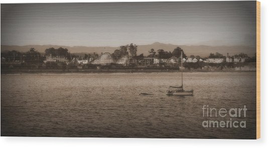 Santa Cruz Boardwalk Sepia 2 Wood Print
