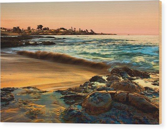 Santa Cruz Sunset Wood Print