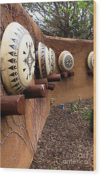Santa Fe Pottery Wood Print by Claudette Bujold-Poirier