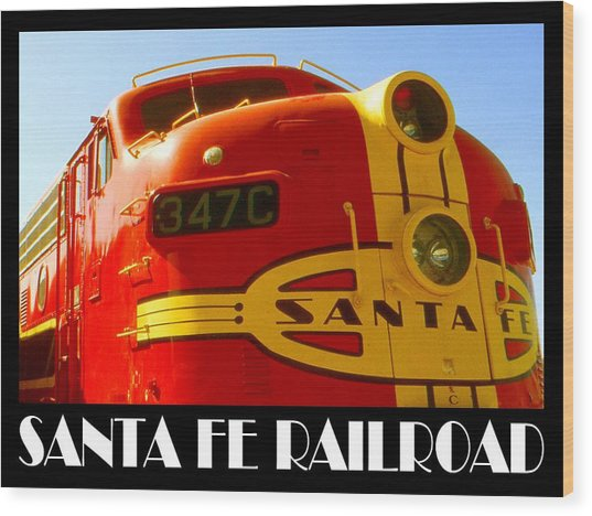 Santa Fe Railroad Color Poster Wood Print