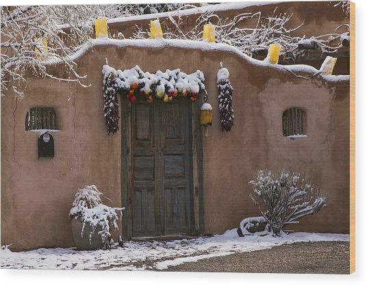 Santa Fe Style Southwestern Adobe Door Wood Print