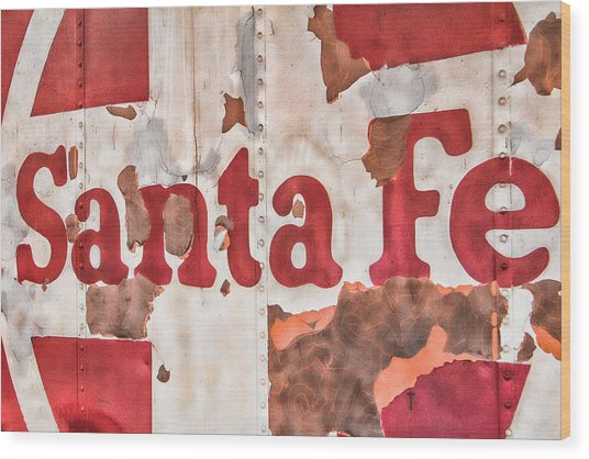 Santa Fe Vintage Railroad Sign Wood Print