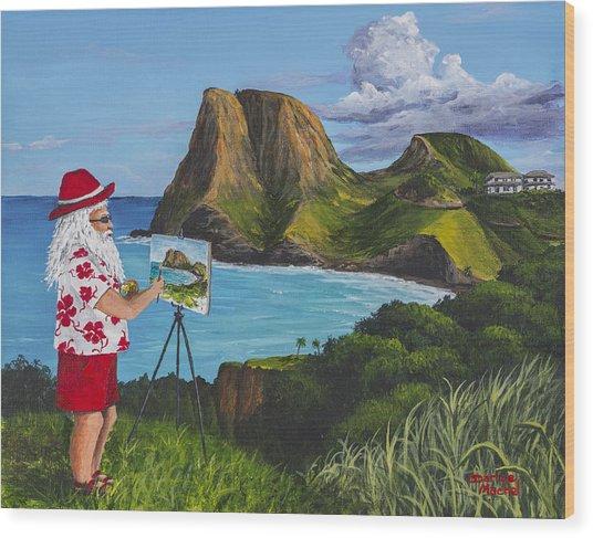 Santa In Kahakuloa Maui Wood Print