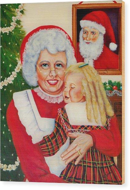 Santa Wood Print by Joni McPherson