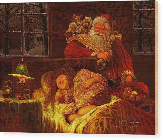 Santa Loves Cookies Wood Print