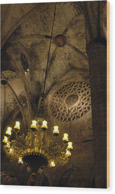 Santa Maria Del Mar Basilica V Wood Print by Kathy Schumann