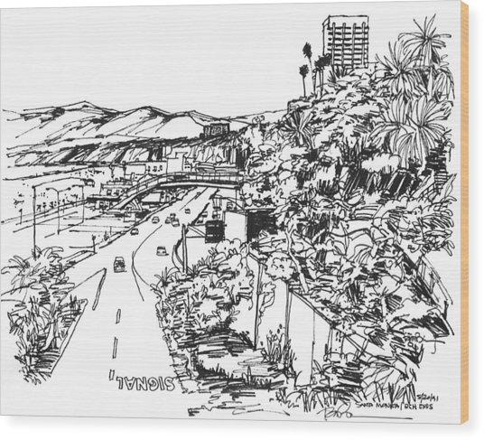 Santa Monica Ca - Pacific Coast Highway Starts Here Wood Print