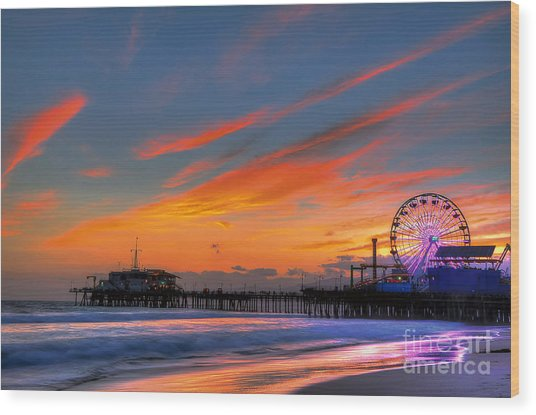 Santa Monica Pier At Dusk Wood Print