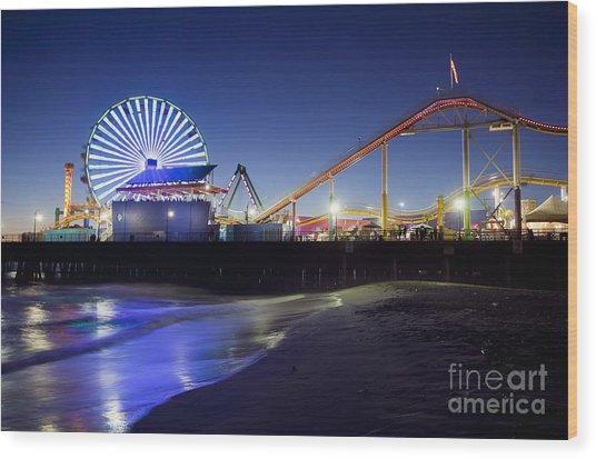 Santa Monica Pier At Night Wood Print