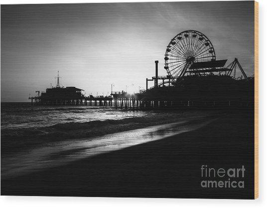 Santa Monica Pier In Black And White Wood Print