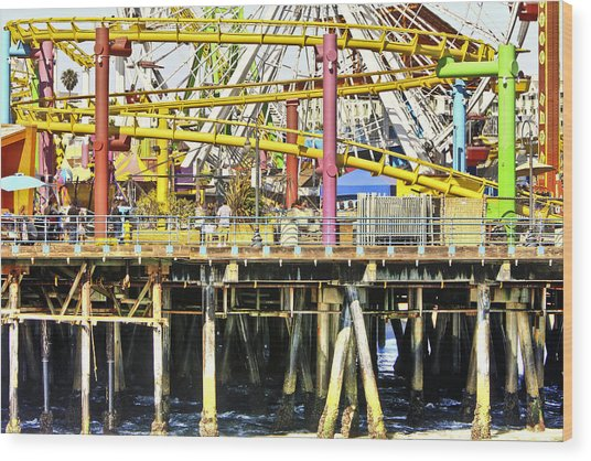 Santa Monica Pier Over And Under Wood Print